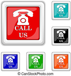 Call us icon - Square shiny icons - six colors vector set -...