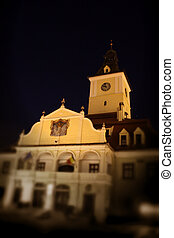 Brasov - Old center of Brasov city in the night scene.