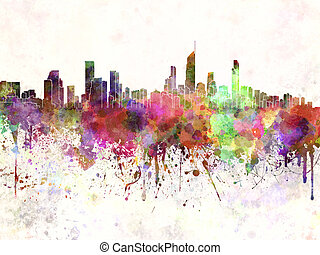 Gold Coast skyline in watercolor background