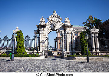 Old historical iron gate of Buda Castle in Budapest