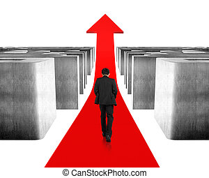 Walking on growing red arrow through maze