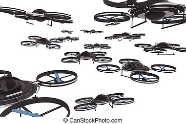 Drones Invasion Isolated on White Background 3D...