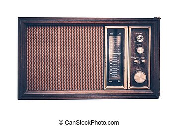 Vintage Radio Isolated on Solid White Background. Front...