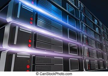 Servers Rack Illustration - Powerful Servers Rack Closeup...
