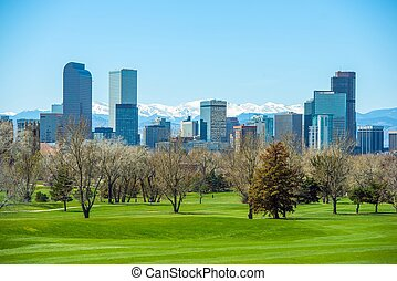 Sunny Denver Skyline. Spring in Colorado. Denver Skyline and...