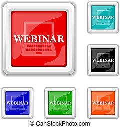 Webinar icon - Square shiny icons - six colors vector set -...