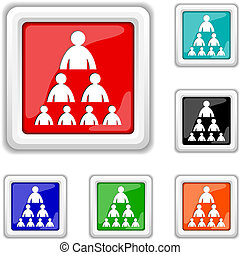 Organizational chart with people icon - Square shiny icons -...
