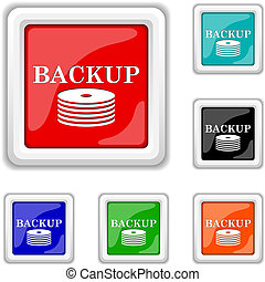 Back-up icon - Square shiny icons - six colors vector set -...