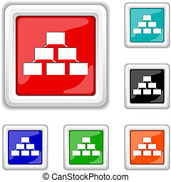 Organizational chart icon - Square shiny icons - six colors...