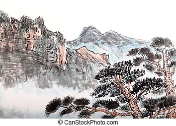 Chinese painting of high mountain