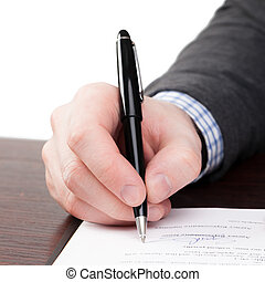 Signing document - 1 to 1 ratio - Male signing documents...