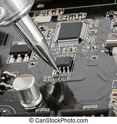fin, haut, électronique, circuit, planche, plusieurs,...
