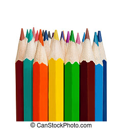 Art tools - color pencils on white background - 1 to 1 ratio...