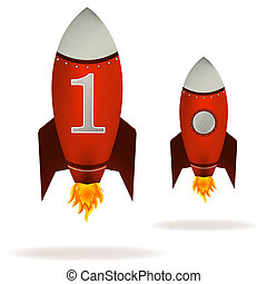 Starting Red Rockets - Stylized vector illustration of a...