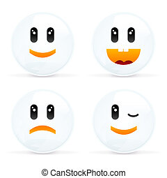 Set Of Cheerful And Sad Smiles - 4 Smiles, Set Of Cheerful...