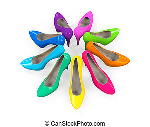 Colorful High Heels isolated on white background. 3D render