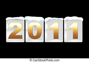 New Year Counter On Black Background, Vector Illustration