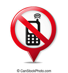 No Cell Phone Sign With Gradient Mesh, Vector Illustration