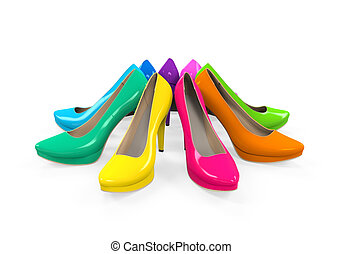 Colorful High Heels isolated on white background 3D render