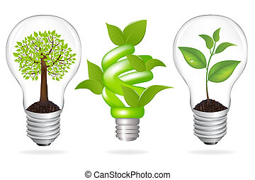 Set Lamps, Eco Concept, Isolated On White Background, Vector...