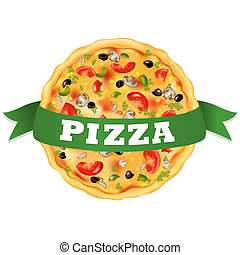Pizza With Green Tape, Isolated On White Background, Vector...