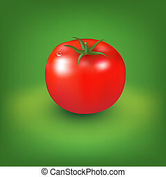 Red Tomato With Green Background