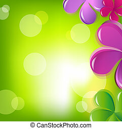 Flowers And Bokeh, Vector Illustration