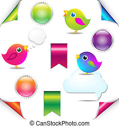 Colorful Birds Set With Ribbon And Speech Bubble, Isolated...