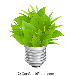 Eco Energy Concept, Ecology Bulb, Isolated On White...