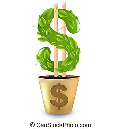 Gold Pot With Dollar