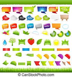 Eco And Nature Symbols - Big Set Nature Symbols, Stickers...