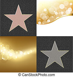 Fame Stars - 2 Walk Of Fame Type Star And Golden Background,...