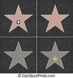 Fame Stars - 4 Walk Of Fame Type Star, Vector Illustration...
