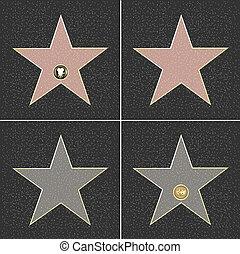 Fame Stars - 4 Walk Of Fame Type Star, Vector Illustration...