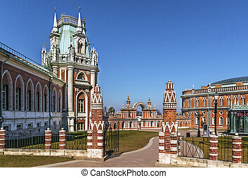 Tsaritsyno Park, Moscow - The main palace and Gallery-fence...