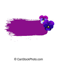 Blob With Lilac Pansies With Gradient Mesh, Vector...