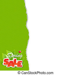 Green Torn Paper Borders And Sale Label With Gradient Mesh,...