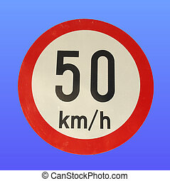 Traffic sign - Speed limit traffic sign over blue sky