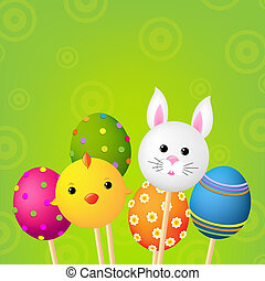 Happy Easter Card With Gradient Mesh, Vector Illustration