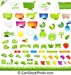 Eco Collection Design Elements, Isolated On White Background...