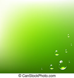 Green Background With Water Drops