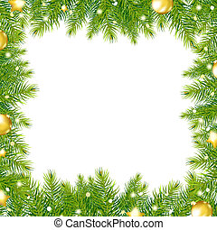 Border With Christmas Tree And Gold Ball