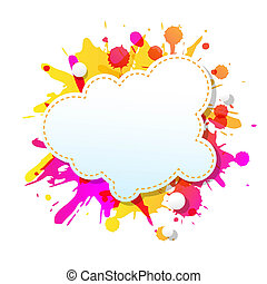Color Grunge Poster With Abstract Speech Bubbles With...