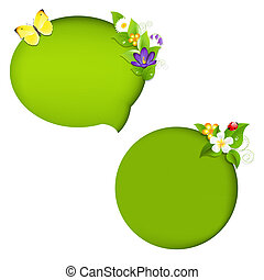 Eco Nature Speech Bubble With Gradient Mesh, Isolated On...