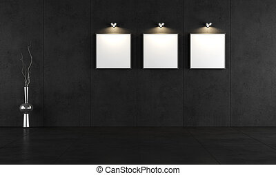 Black concrete room with three blank canvas - rendering