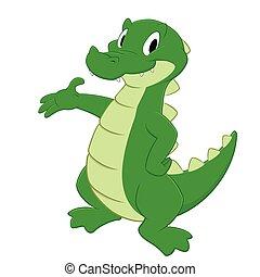 Cartoon Crocodile - Cartoon crocodile. Isolated object for...