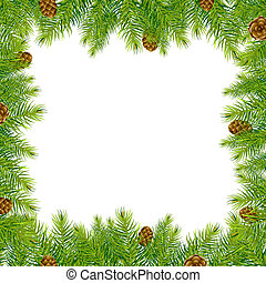Frame With Christmas Tree And Pine Cone - Frame With...