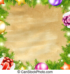 Christmas Retro Background With Xmas Fir Tree Border