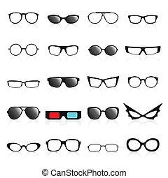 Glasses frame icons. Vector illustration