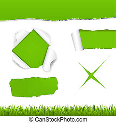 Green Torn Paper Set